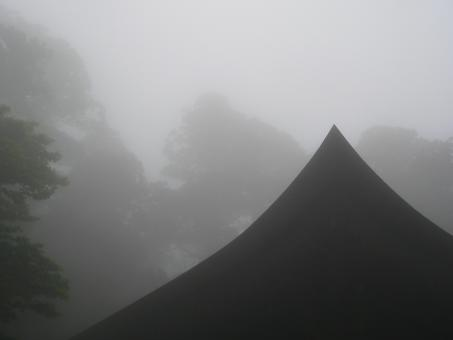 Free Stock Photo of Roof of Japanese Buddhist mountain temple in the mist.