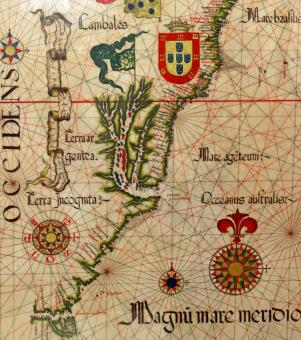 Free Stock Photo of 16th-Century Nautical Chart Showing the Recently Discovered Brazilian