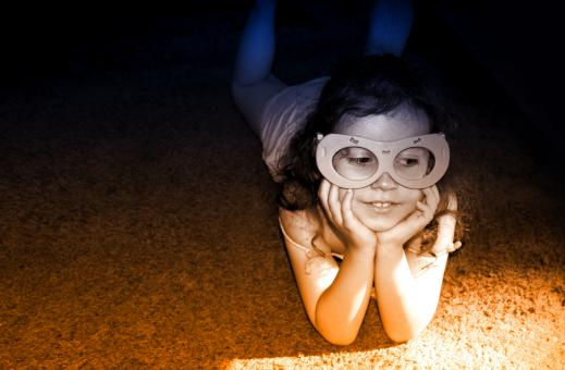 Free Stock Photo of Little Girl Having Fun Wearing a Mask
