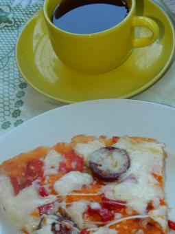 Free Stock Photo of Homemade Pizza and Tea