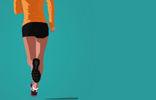Free Stock Photo of Woman Jogging - Illustration with Copyspace