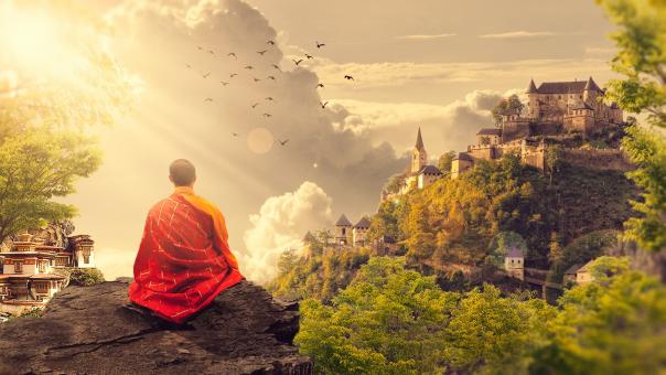 Free Stock Photo of Meditation on the Clifftop