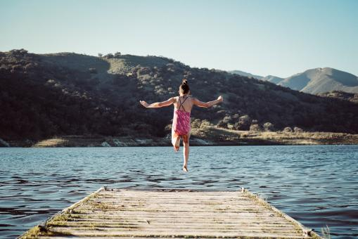 Free Stock Photo of Jumping in the Water