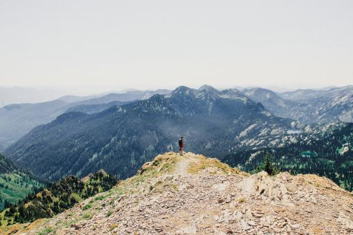 Free Stock Photo of Hiker on Top