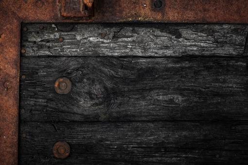 Free Stock Photo of Rotting Wood and Metal Frame