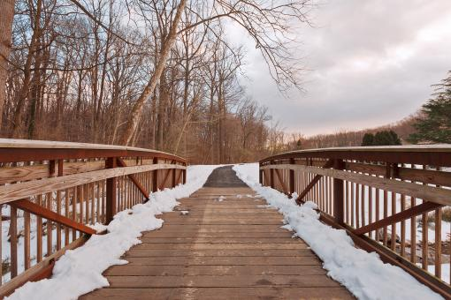 Free Stock Photo of Brookside Winter Bridge