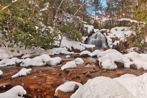 Free Stock Photo of Hawk Falls Winter Stream - HDR