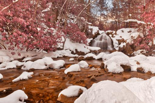 Free Stock Photo of Hawk Falls Winter Stream - Pink Fantasy HDR