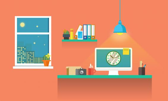 Free Stock Photo of Work Desk - Working Till Late - Illustration