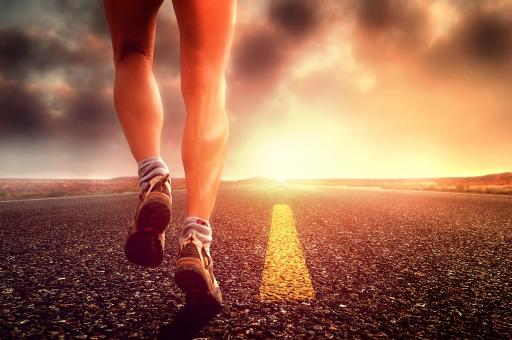 Free Stock Photo of Hit the Road - Long Distance Runner on the Road