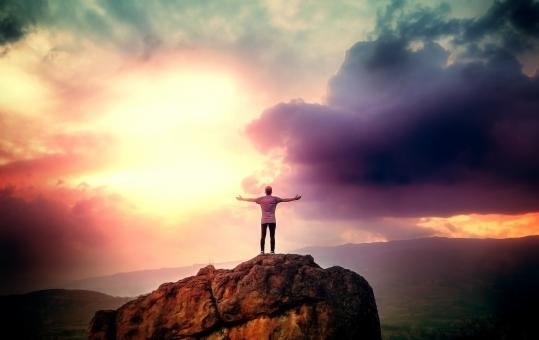Free Stock Photo of Man on the Summit Embracing a Brave New Day