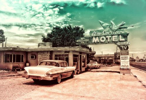 Free Stock Photo of Vintage Car and Motel
