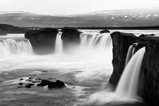 Free Stock Photo of Godafoss - Black & White