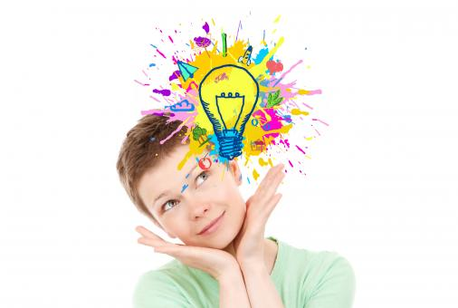 Free Stock Photo of Explosion of Ideas - Woman Generating Ideas