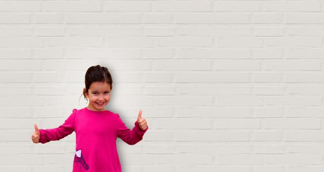 Free Stock Photo of Cute Little Girl Showing Thumbs Up