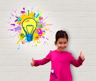 Free Stock Photo of Cute Little Girl Showing Thumbs Up - Creativity and Great Ideas