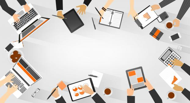 Free Stock Photo of Team Work - Business Meeting - Top View with Copyspace