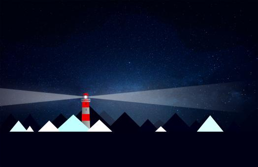 Free Stock Photo of Lighthouse and Icebergs at Night - Illustration with Copyspace