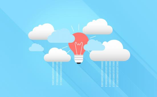 Free Stock Photo of Cloud Computing with Virtual Clouds and Light Bulb