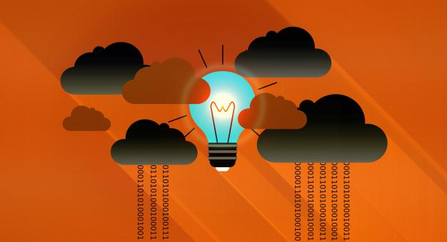 Free Stock Photo of Dark Clouds - Virtual Clouds and Bright Light Bulb
