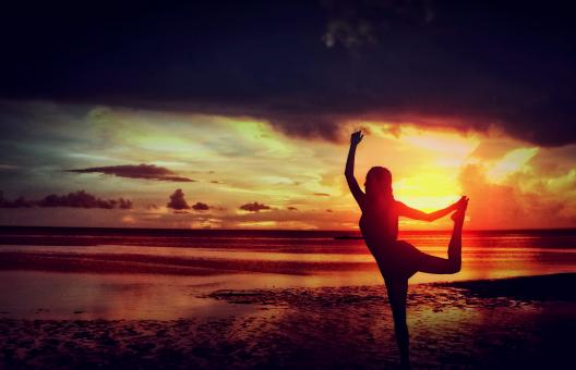 Free Stock Photo of Woman Practicing Yoga at the Beach