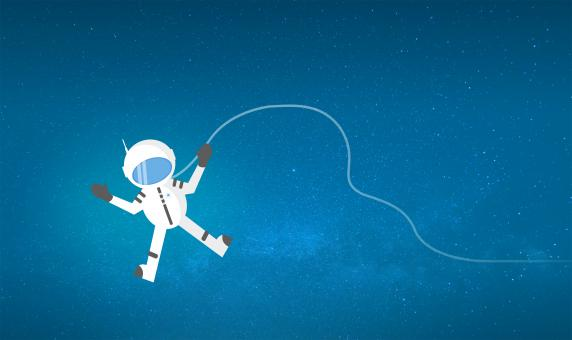 Free Stock Photo of Cartoon Astronaut Drifting and Lost in Space - With Copyspace