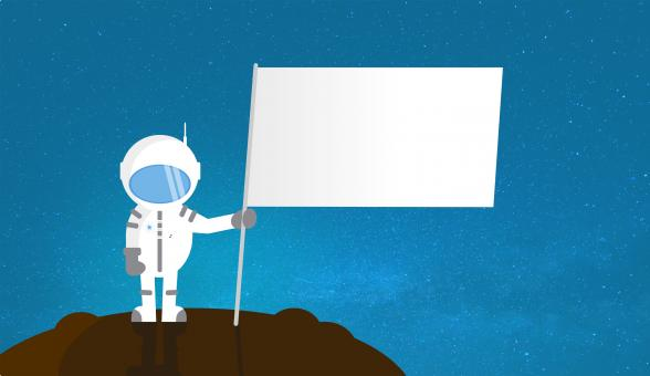 Free Stock Photo of Cartoon Astronaut Holding Blank Flag - With Copyspace
