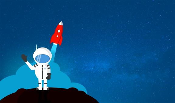 Free Stock Photo of Cartoon Astronaut Waving Goodbye - With Copyspace