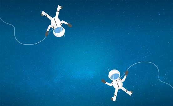 Free Stock Photo of Couple of Cartoon Astronauts Drifting and Lost in Space - With Copyspa