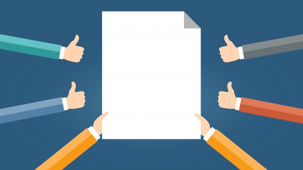 Free Stock Photo of Blank Space - Blank Page Surrounded by Thumbs Up - Agreement Concept