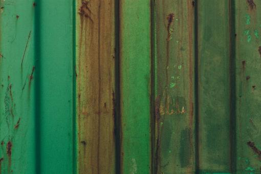 Free Stock Photo of Green Rusted Metal Container Texture