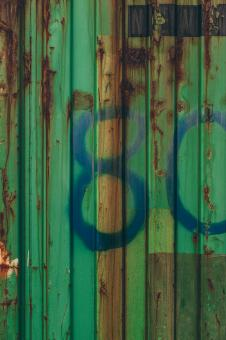 Free Stock Photo of Green Corroded Container Texture