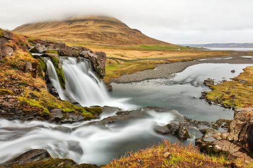 Free Stock Photo of Foggy Kirkjufellsfoss