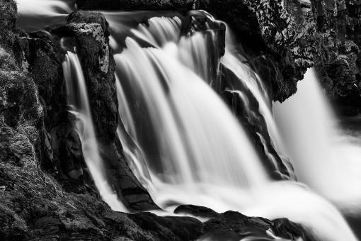 Free Stock Photo of Kirkjufellsfoss Cascades - Black & White