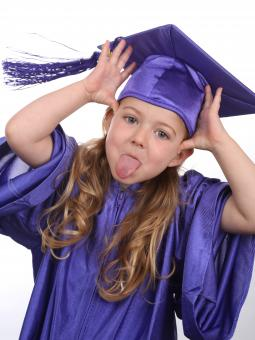 Free Stock Photo of Funny Girl in Graduate Costume
