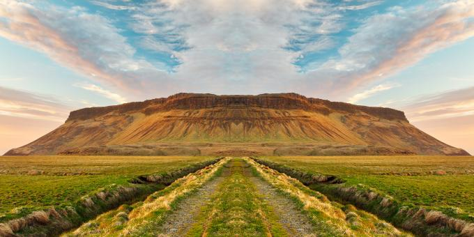Free Stock Photo of Iceland Sunset Symmetry Trail