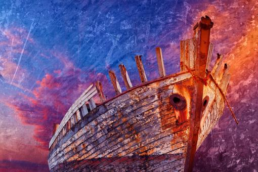 Free Stock Photo of Akranes Shipwreck - Vibrant Grunge Fantasy