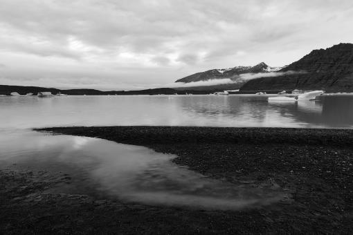 Free Stock Photo of Skaftafell Glacier Lake - Black & White