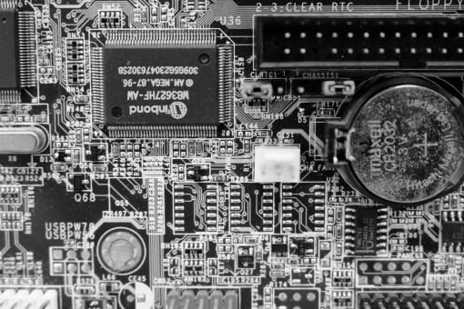 Free Stock Photo of Circuit board black and white texture