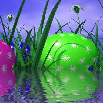 Free Stock Photo of Easter Eggs Represents Green Grass And Environment