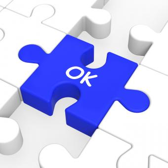 Free Stock Photo of Ok Puzzle Shows Approved Correct Okay Or Passed