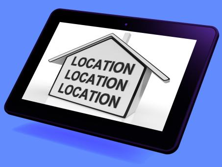 Free Stock Photo of Location Location Location House Tablet Shows Prime Real Estate