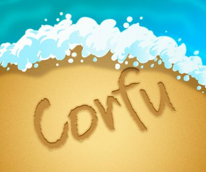 Free Stock Photo of Corfu Holiday Indicates Greek Vacation 3d Illustration
