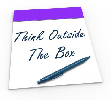 Free Stock Photo of Think Outside The Box Notepad Means Unique Thoughts
