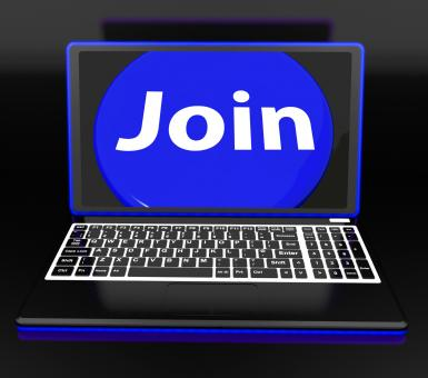 Free Stock Photo of Join On Laptop Shows Subscribing Membership Or Volunteer Online