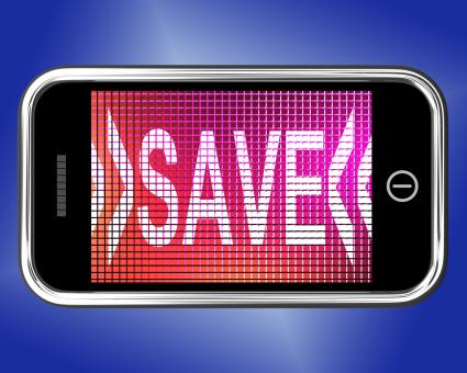 Free Stock Photo of Save Message On Mobile Phone Shows Promotion