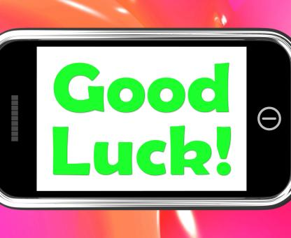 Free Stock Photo of Good Luck On Phone Shows Fortune And Lucky