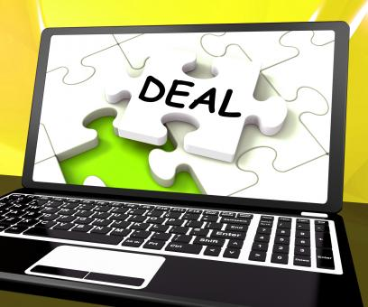 Free Stock Photo of Deal Laptop Shows Trade Deals Contract Or Dealing Online