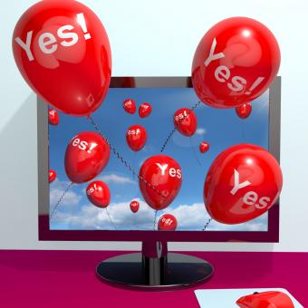 Free Stock Photo of Yes Balloons From A Computer Showing Approval And Support Message Onli