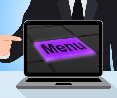 Free Stock Photo of Menu Button Displays Ordering Food Menus Online